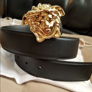 Versace black leather gold medusa head buckle belt